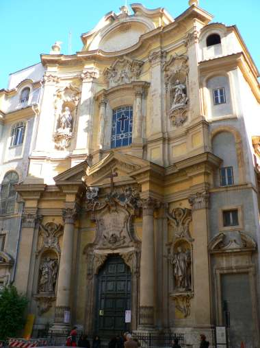 Church of La Maddalena, Piazza della Maddalena, Rome, 1735.  The facade has been restored.  A good example of the Roman late Baroque.