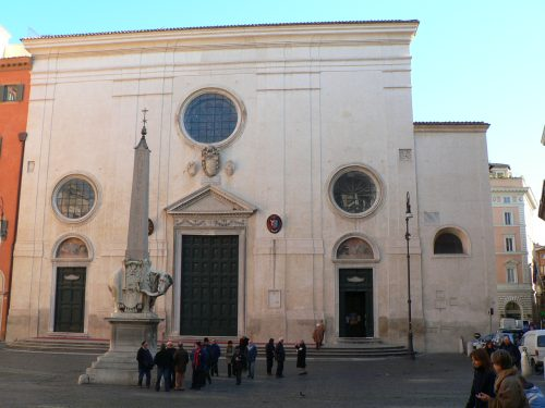 The church and the Elephant and Obelisk by Gian Lorenzo Bernini in the Piazza S. Maria sopra Minerva, Rome.
