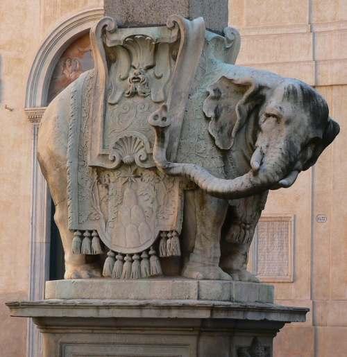 Elephant at the base of Elephant and obelisk, 1665-67 by Gian Lorenzo Bernini.  Piazza S. Maria sopra Minerva, Rome.