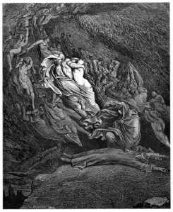 Dante collapses at the end of Canto V of the Inferno.