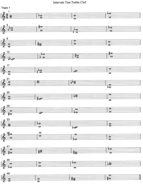intervals test treble clef