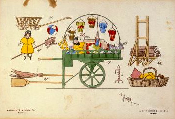 Design for props, Act II La boheme, first performance 1893.