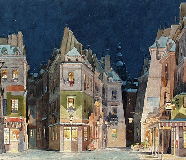 La boheme Act II set design for first performance.