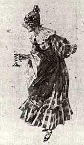 La boheme Act I, costume design for Mimi by Adolf Hohenstein (1854-1928).