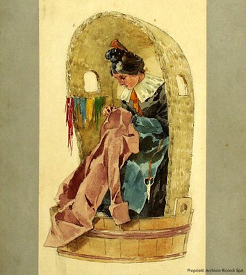 Mimi's costume, Act II, first performance of La boheme.