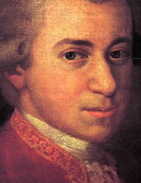 Mozart circa 1780 by Johann Nepomuk della Croce, detail