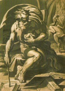 Diogenes, chiaroscuro woodcut by Ugo da Carpi  c. 1527.  After Parmigianino.