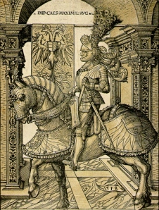 Emperor Maximilian on Horseback, chiaroscuro woodcut by Hans Burgkmair the Elder, 1508 and 1518.