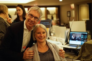 James Bowers and Lily Weisbecker, founders of Sit-ins, with their innovative software running on a laptop in the background, August 2015.