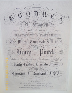 Purcell's Bonduca, Musical Antiquarian Society, 1842